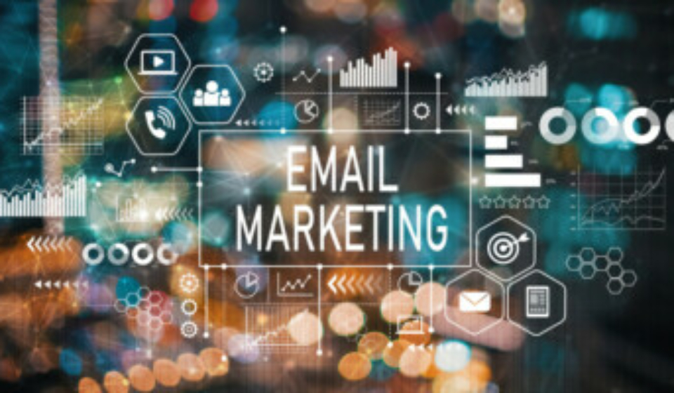 Email marketing with blurred city abstract lights background