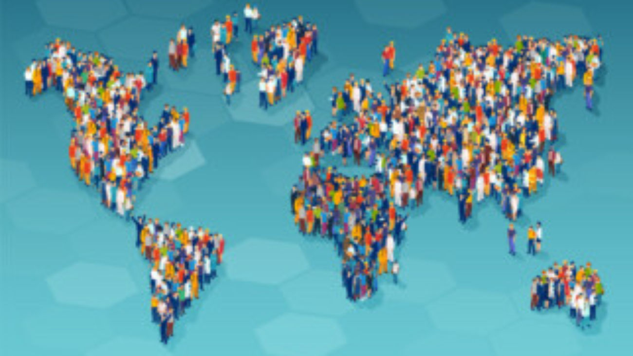 Vector of a large group of diverse people from different country standing on a world map
