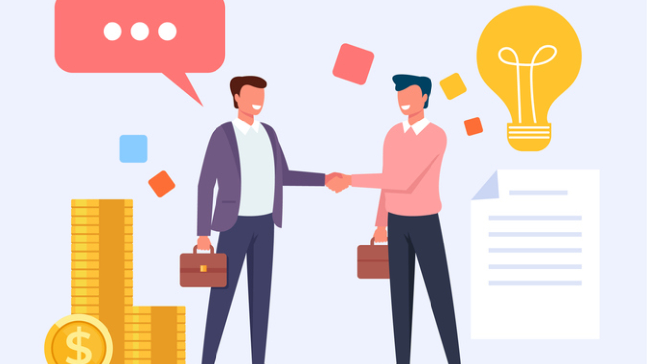 Two business man office workers people characters shaking hands. Vector flat cartoon graphic design
