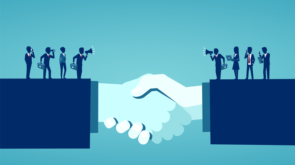 Businesss collaborations concept. Vector of businesspeople reaching an agreement after successful negotiations