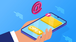 Email message concept. The man holds the phone in his hands and opens the notification that came to the mail. Communication with clients and online marketing. Cartoon isometric vector illustration